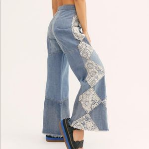 Free People Crochet Parched Flare Jeans